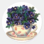 Fleurs de tasse de thé autocollant