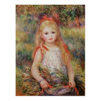 Fleurs de transport de petite fille carte postale