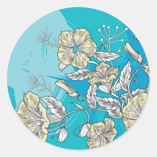 fleurs de vecteur avec le bleu sticker rond