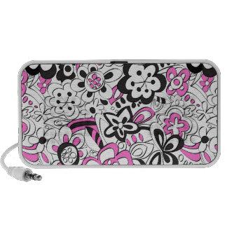 Fleurs délabrées - rose/noir haut-parleurs ordinateur portable