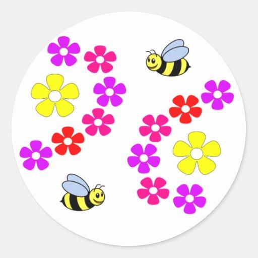Fleurs des abeilles N Autocollant Rond