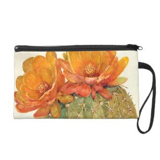 Fleurs d'orange de cactus sac à main avec dragonne