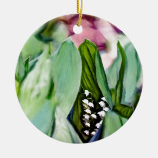 Fleurs du muguet cachées dans le feuille ornement rond en céramique