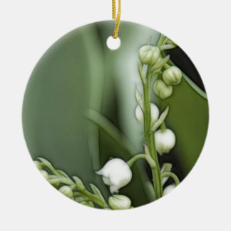Fleurs du muguet ornement rond en céramique