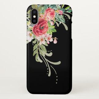 Fleurs élégantes et remous d'aquarelle coque iPhone x