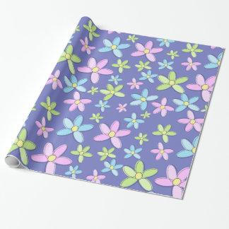 Fleurs en pastel colorées mignonnes papier cadeau