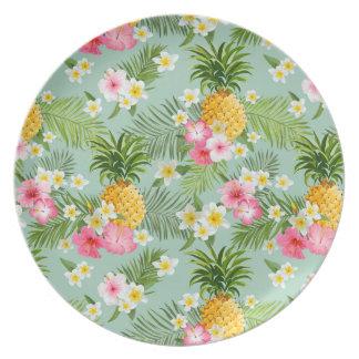 Fleurs et ananas tropicaux assiettes en mélamine