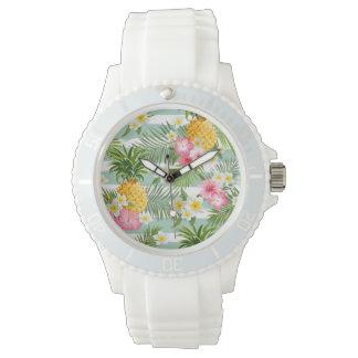 Fleurs et ananas tropicaux sur les rayures montres cadran