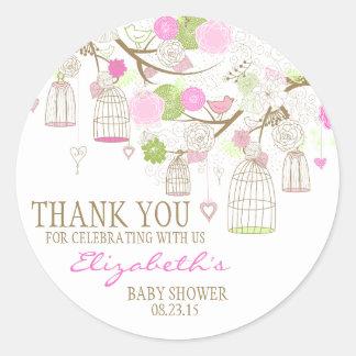 Fleurs et autocollant de baby shower de Merci de
