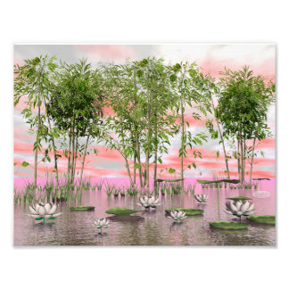 Fleurs et bambous de Lotus - 3D rendent Photographies D'art