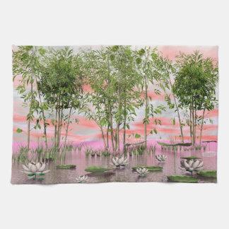 Fleurs et bambous de Lotus - 3D rendent Serviettes Éponge