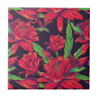 Fleurs et colibris carreau