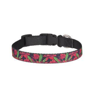 Fleurs et colibris collier de chien