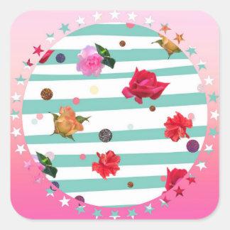 Fleurs et étoiles sticker carré