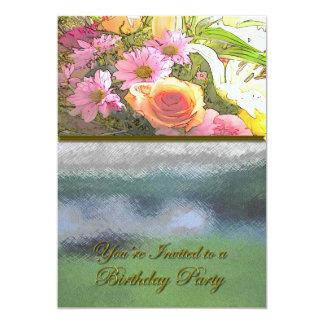 Fleurs et fête d'anniversaire de brouillard carton d'invitation  12,7 cm x 17,78 cm