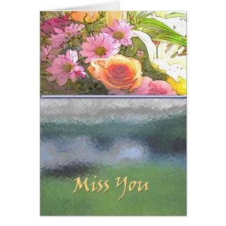 Fleurs et Mlle You de brouillard Carte De Vœux