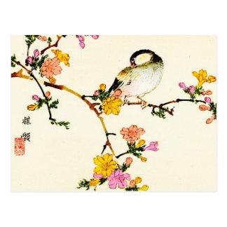 Fleurs et oiseau colorés japonais carte postale