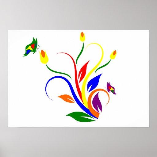 Fleurs et papillons affiches