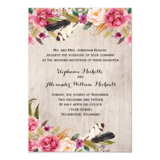 Fleurs et plumes rustiques Recption seulement Carton D'invitation 12,7 Cm X 17,78 Cm