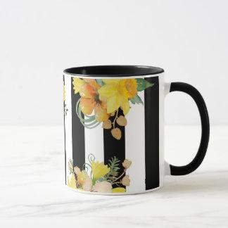 Fleurs et rayures jaunes mug