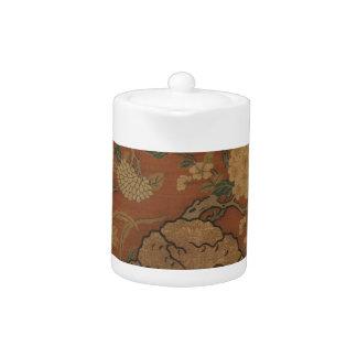 Fleurs et roche de jardin - soie chinoise