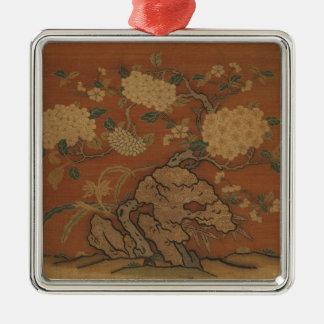 Fleurs et roche de jardin - soie chinoise ornement carré argenté