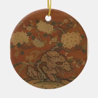 Fleurs et roche de jardin - soie chinoise ornement rond en céramique