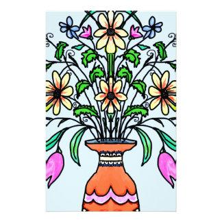 Fleurs et vase reflétés papier à lettre customisable