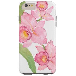 Fleurs exotiques roses d'aquarelle coque tough iPhone 6 plus