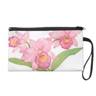 Fleurs exotiques roses d'aquarelle sacs à main avec dragonne