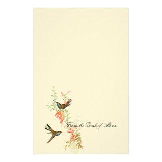 Fleurs florales de faune d'oiseaux de colibri papeterie
