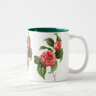 Fleurs florales et roses vintages de camélia par tasse 2 couleurs