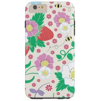 Fleurs, fraises, et abeilles coque tough iPhone 6 plus
