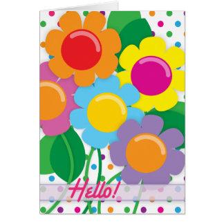 Fleurs gaies à dire bonjour ! cartes