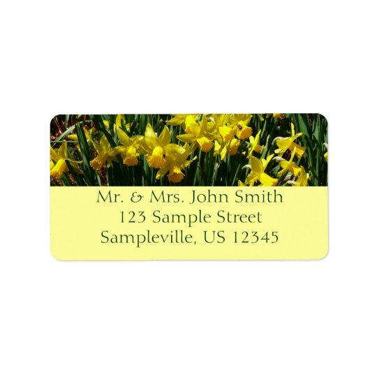 Fleurs gaies de ressort des jonquilles I jaune Étiquettes D'adresse