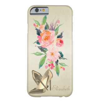 Fleurs Girly chics d'aquarelle, Coque Barely There iPhone 6