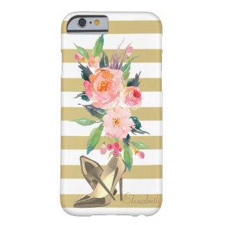 Fleurs Girly d'aquarelle, talons, barrés Coque iPhone 6 Barely There