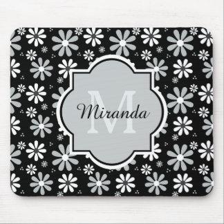 Fleurs Girly de marguerite blanche de noir de Tapis De Souris