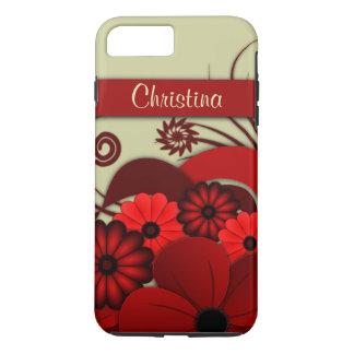 Fleurs gothiques de ketmie florale rouge rouge à coque iPhone 8 plus/7 plus