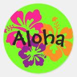 Fleurs hawaïennes audacieuses et lumineuses autocollants ronds