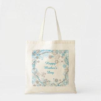 Fleurs heureuses de bleu du jour de mère sacs en toile