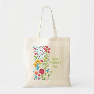 Fleurs heureuses de ressort du jour de mère sac en toile