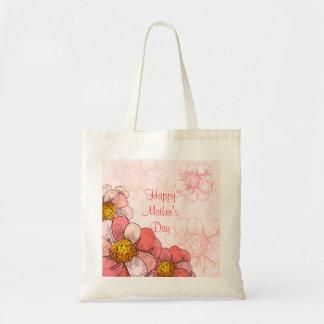 Fleurs heureuses de rose du jour de mère sac en toile