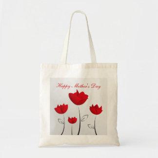 Fleurs heureuses de rouge du jour de mère sac fourre-tout