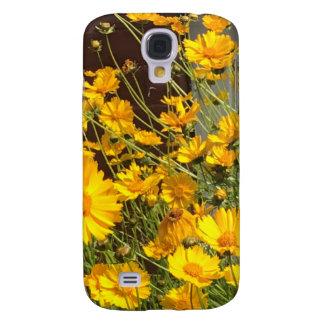 Fleurs jaunes heureuses lumineuses dans un groupe coque galaxy s4