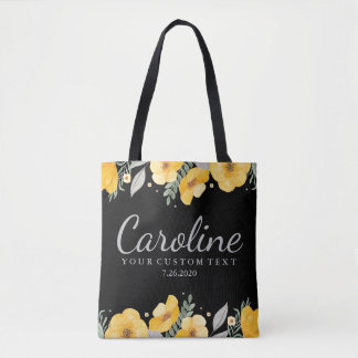 Fleurs jaunes romantiques personnalisées de tote bag