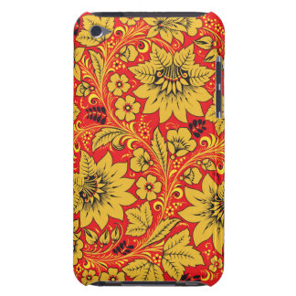 Fleurs jaunes sur la caisse rouge d'iPod de khokhl Coques Barely There iPod