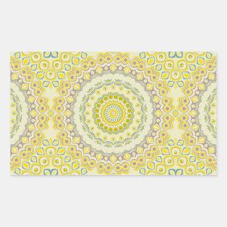 Fleurs jaunes, vertes, bleues et grises de sticker rectangulaire
