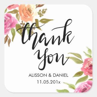 Fleurs manuscrites de Merci décontracté Sticker Carré