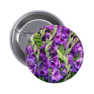 Fleurs mauve pourpres de gladioli badge